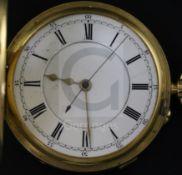 An Edwardian 18ct gold half hunter chronograph? pocket watch by Edwards & Brookes, Macclesfield,