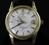 A gentleman's 1960's? steel and gold plated Omega Constellation chronometer automatic wrist watch,