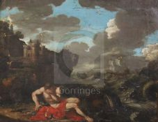 After Nicolas Poussin (17th / 18th century)oil on canvasCoastal landscape with shipwrecked