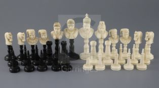 A 19th century, possibly French Colonial, black stained and natural ivory chess set, Moors versus