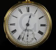 A late Victorian 18ct gold open face keyless lever pocket watch by Gabriel, Bishopsgate Within, with