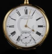 An early 20th century 18ct gold Patek Philippe keyless lever Chronometre Gondolo open face pocket