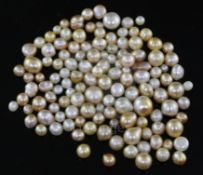 One hundred and twenty seven loose undrilled assorted shaped natural pearls, gross weight ,106.44ct,