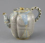A good Doulton & Rix's patent Marqueterie ware teapot, c.1887, of quatrelobed form with 'teardrop'