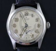 A gentleman's 1940's stainless steel Rolex Oyster shock-resisting manual wind wrist watch, with