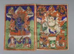 A set of five Tibetan thangkas depicting Buddhist deities, late 19th century, painted on silk,
