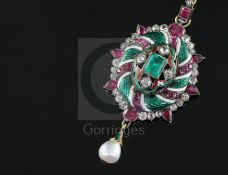 A 19th century gold and silver, emerald, ruby, diamond, two colour enamel and baroque pearl drop