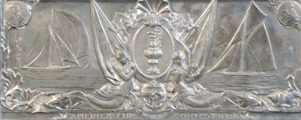 America's Cup Interest: An American sterling silver plaque, made to commemorate the America's Cup