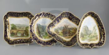 A Wedgwood bone china topographical seventeen piece dessert service, c.1880, each piece painted with