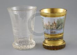 Two Bohemian glass beakers, ranftbechers, c.1840 and 1900, one in clear glass engraved with