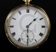 A George V 9ct gold open face keyless lever pocket watch, with Roman dial and subsidiary seconds,