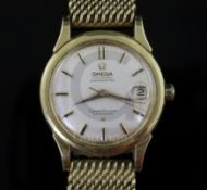 A gentleman's early 1960's 18ct gold Omega Constellation Calendar automatic wrist watch, with