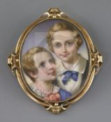 Victorian Schooloil on ivoryMiniature portrait of two boys2.5 x 2in., hair back frame