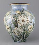 Frank A Butler for Doulton Lambeth, a large floral design vase, dated 1885, impressed mark and