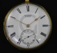 A George V engine turned 18ct gold keywind pocket watch by Brockbank & Atkins, London, with Roman