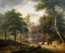 Attributed to Jan Baptiste de Jonghe (1785-1824)oil on canvasCattle in a wooded landscape28 x 34in.