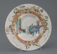 A French Kakiemon style porcelain soup plate, 18th or 19th century, painted with figures in an