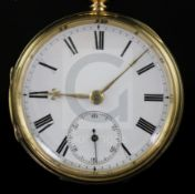 A George V 18ct gold open face keywind lever pocket watch, with Roman dial and subsidiary seconds.