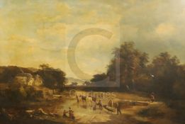 Sidney Richard Percy (1822-1886)oil on canvasLandscape with timber cart crossing a streamsigned25.