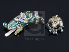 Two antique Indian, gold, enamel and gem set fobs/pendant, one modelled as the head of a dog, with