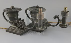 A near pair of Regency style bronze Colza oil lamps, of rhyton form, with boars heads mounts