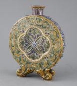 Eliza Simmance for Doulton Lambeth, an unusual moonflask, probably dated 1879, incised with a