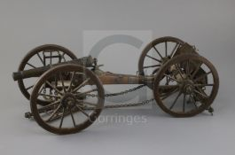 A 19th century scratch built model of a horse artillery six pounder gun and carriage, made of