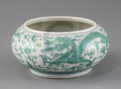 A Chinese doucai 'dragon' pot, Kangxi mark but later, the dragons chasing a flaming pearl picked out