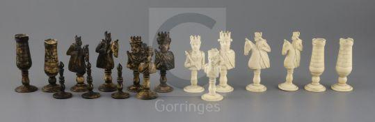 An 18th century Dieppe bone figural part chess set