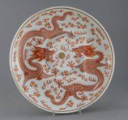 A Chinese rouge de fer and gilt 'dragon' dish, Guangxu six character mark and of the period (1875-