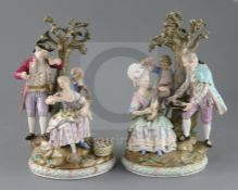 A pair of Meissen groups, late 19th century, the first modelled with a lady playing a mandolin and a