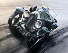 Dion Pears (1929-1985)gouache and watercolourUC6468 3 litre Bentley 1928 Le Mans, at