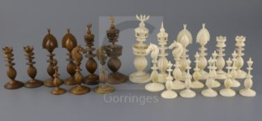 An 18th century Anglo Indian brown stained and natural ivory part chess set, king 5in.