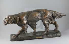Thomas Francois Cartier (French, 1879-1943). A French bronzed terracotta model of a Gordon Setter,