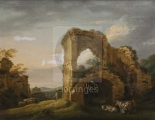 Micheal Angelo Rooker (1743-1801)pair of oils on canvas'Part of Pevensey Castle' and 'Strand Gate,