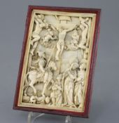 A Hispano-filipino or Sino-Portuguese ivory relief of The Crucifixion with the two thieves, probably