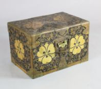 A Japanese black lacquer travelling chest, Meiji period, with gilt copper mounts and gilt