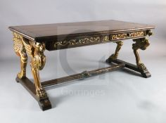 A Regency style mahogany library table, with rounded rectangular top and four frieze drawers, on