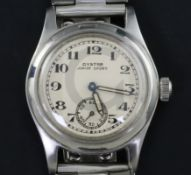 A gentleman's 1940's stainless steel Oyster Junior Sport manual wind wrist watch, with Arabic dial