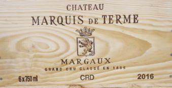 A case of six bottles of Chateau Marquis de Terme Margaux wine, 2016