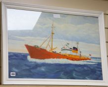 Modern British, oil on board, Portrait of the Lowestoft fishing boat St. Mark 45 x 69cm