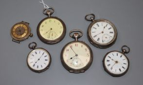 Five assorted continental white metal pocket/fob watches and a 9k wrist watch(a.f.).