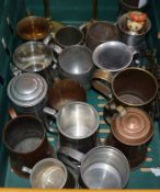 A quantity of copper/pewter tankards, miners lamps etc