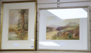 John Shapland (1865-1929) watercolour, Moorland scene, 25 x 35cm and a woodland scene by Hansell