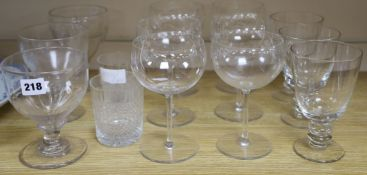 A set of three rummers, a similar pair and a single rummer, and 8 other glasses