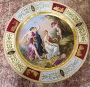 A Vienna style porcelain dish, c.1900 Diameter 37cm