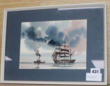 Tony Warner, ink and watercolour, shipping at sea 16 x 23cm
