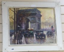 After Emile Boyer (1877-1948) - oil on board, Street scene, View near L'Arc de Triomphe 40 x 50cm