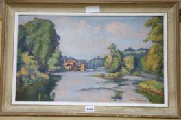 G Chabernaud, oil on board, French river landscape, signed 31 x 53cm