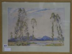 Freda Marston (1895-1949) watercolour, 'Les Basses Alpes', signed 31 x 45cm